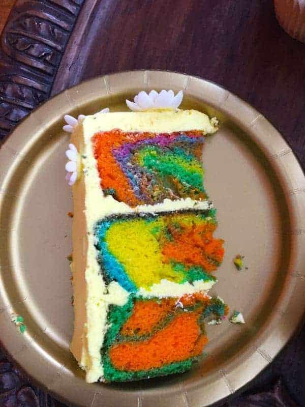 Tie Dye Cake Slice