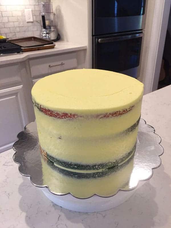 Daisy Cake Crumb Coat
