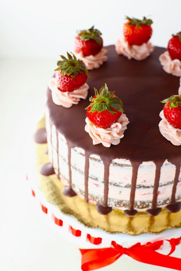 Sugar Free Gluten Free Chocolate Strawberry Cake
