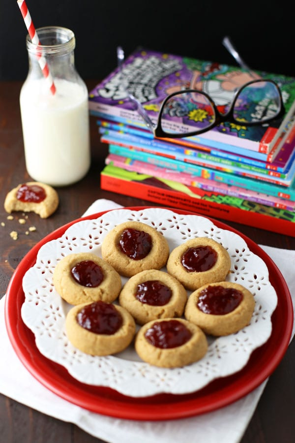 peanut butter and jelly thumbprint cookies for back to school