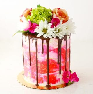 Pink Painted Buttercream Drip Cake