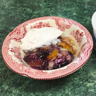 Grandmother's Easy Peach Cobbler with Blueberries