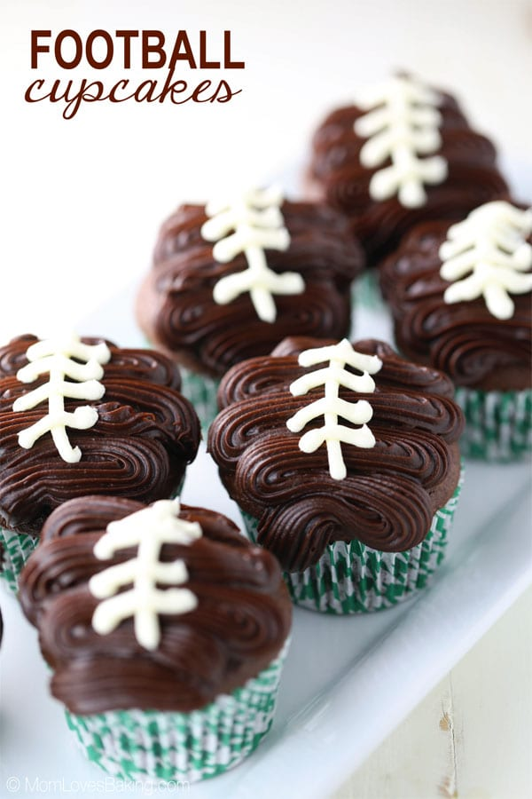 Chocolate Football Game Day Cupcakes