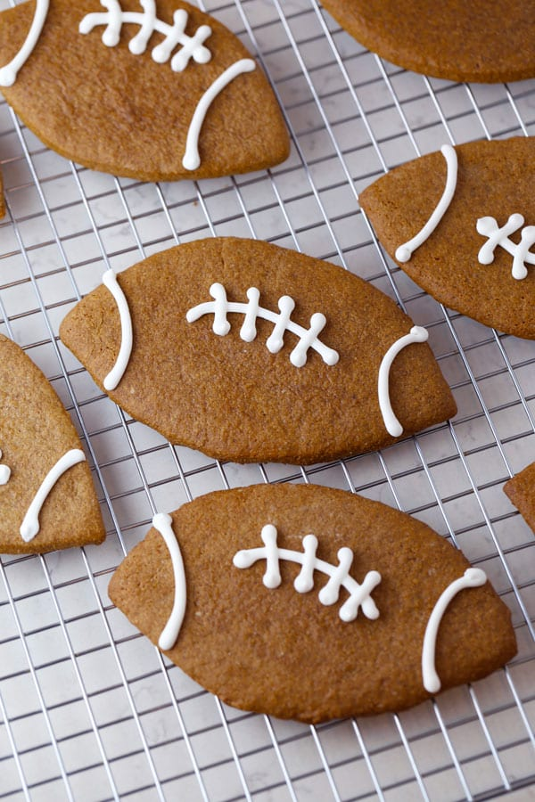 Football Shaped Gingerbread Cookies Mom Loves Baking