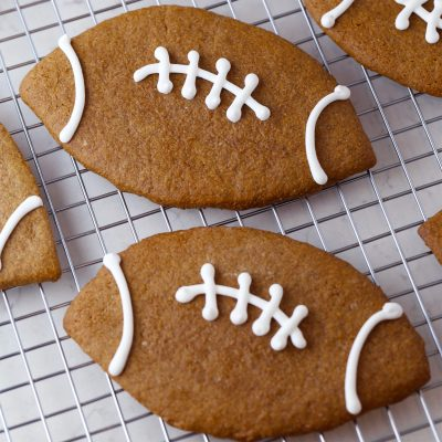 Football Shaped Gingerbread Cookies
