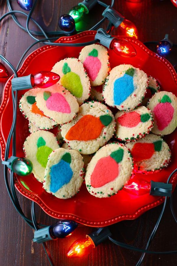 Christmas lights slice and bake sugar cookies