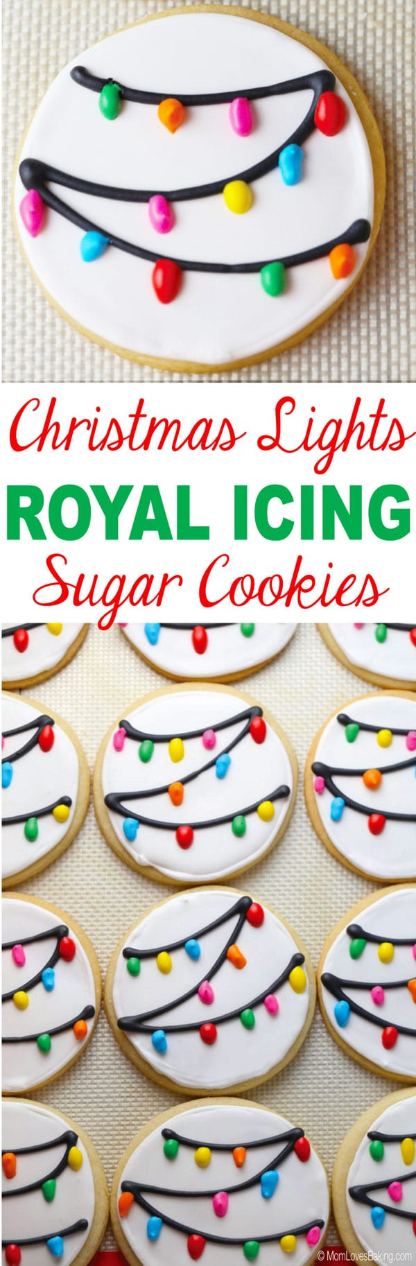 Christmas Lights Royal Icing Sugar Cookies