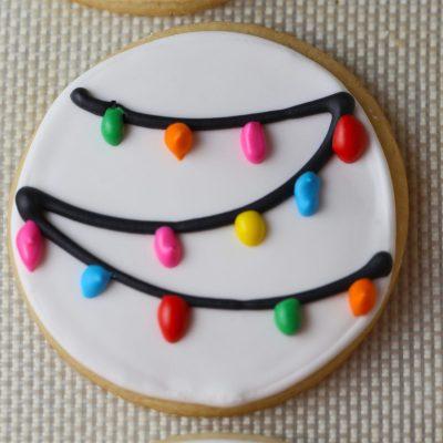 Christmas Lights Royal Icing Sugar Cookies