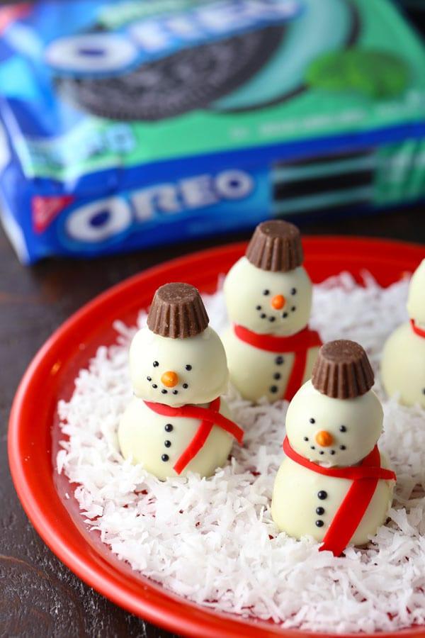 Easy snowman oreo cookie balls