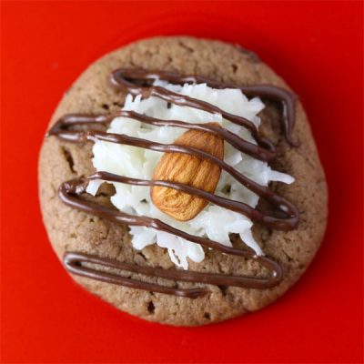 German chocolate almond thumbprint cookies