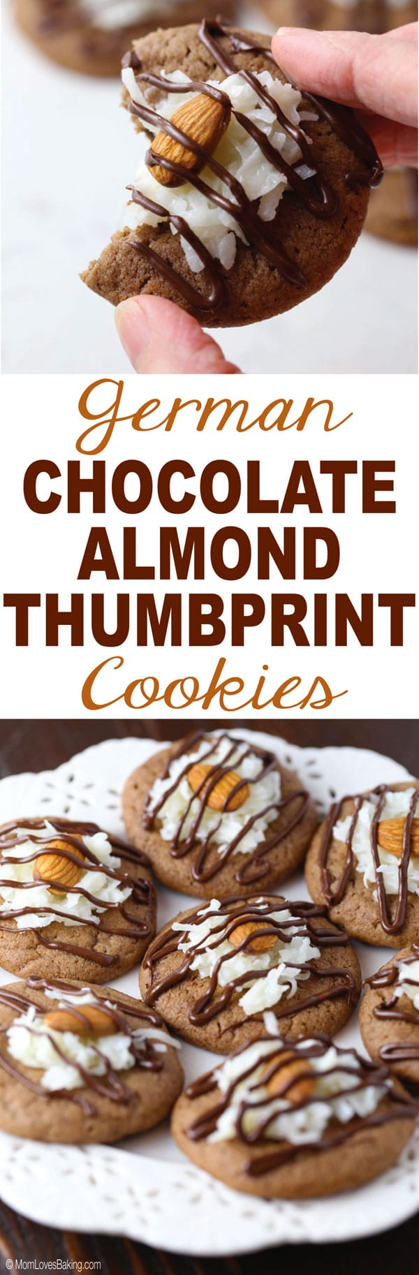 German Chocolate Almond Thumbprint Cookies