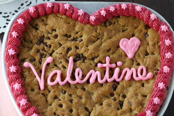 Giant Chocolate Chip Cookie Heart