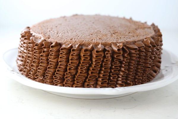 Gluten free vanilla cake with chocolate buttercream