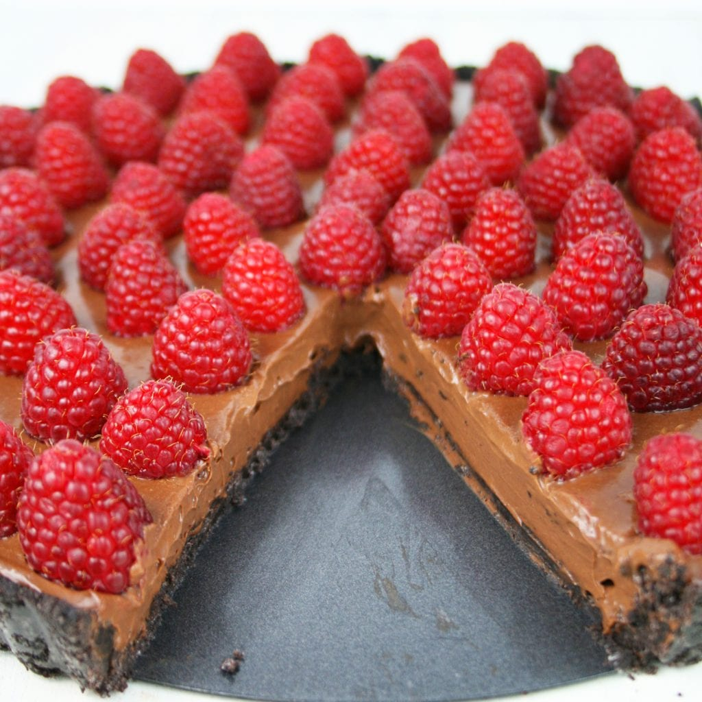 Gluten free chocolate raspberry tart