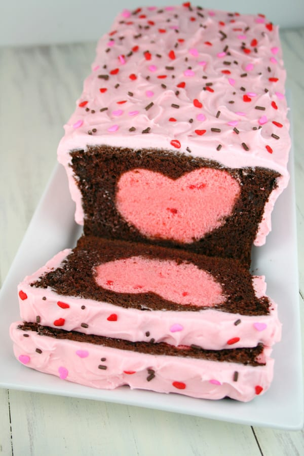 Chocolate strawberry surprise inside cake