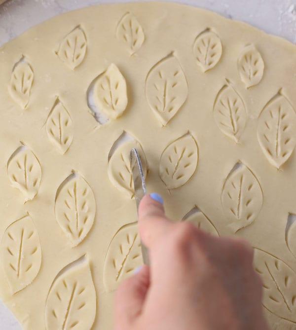 Pie dough leaves