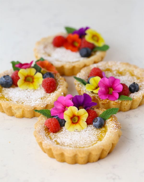 Honey Lemon Tartlets with Flowers