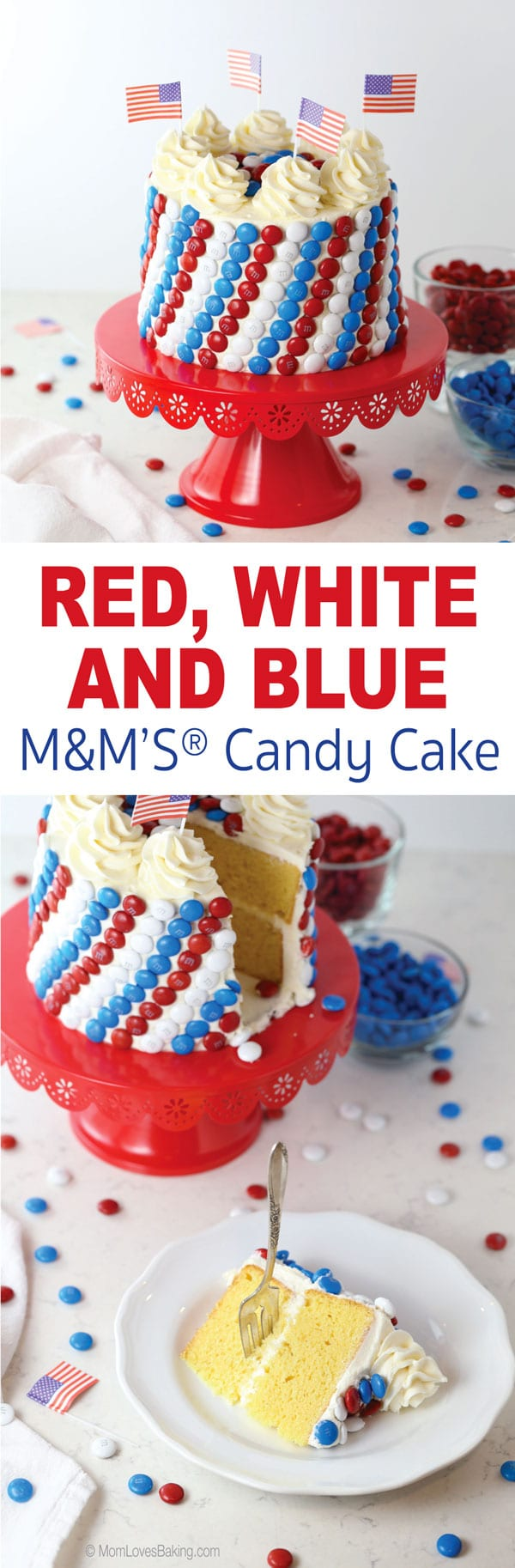 Red, White and Blue M&M's Candy Cake