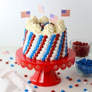 Red white and blue m&m's candy cake