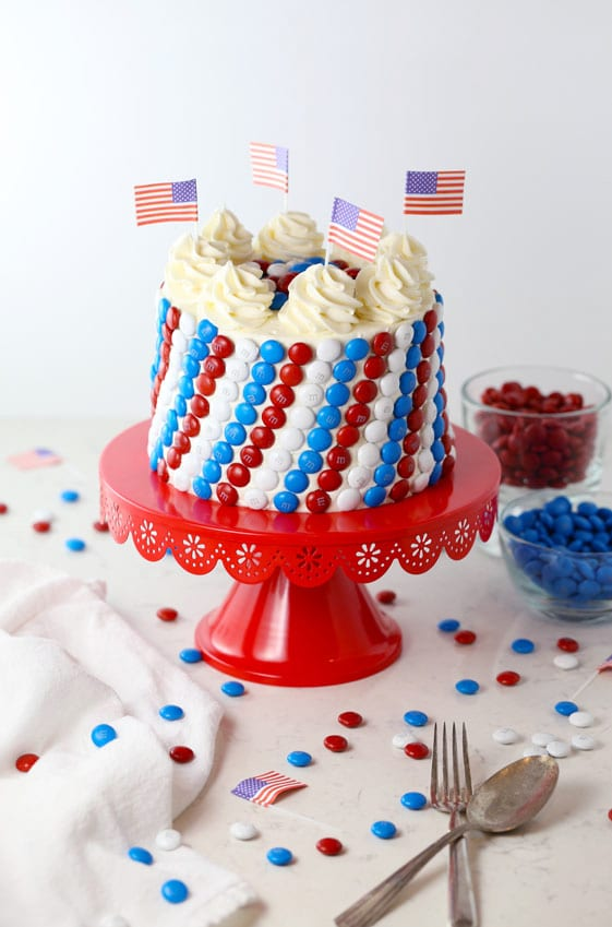 Astonishing Red White And Blue Mms Candy Cake Mom Loves Baking Funny Birthday Cards Online Alyptdamsfinfo