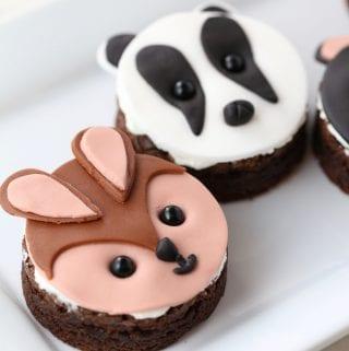 DIY cute critter fox, badger and bear cupcakes