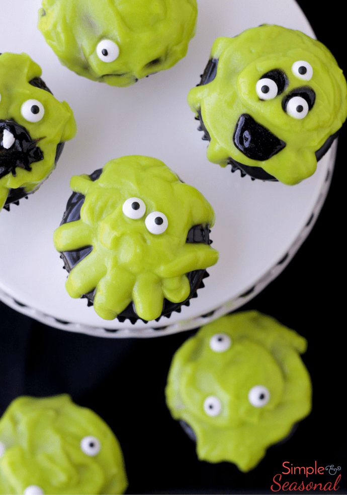 Slime monster cupcakes