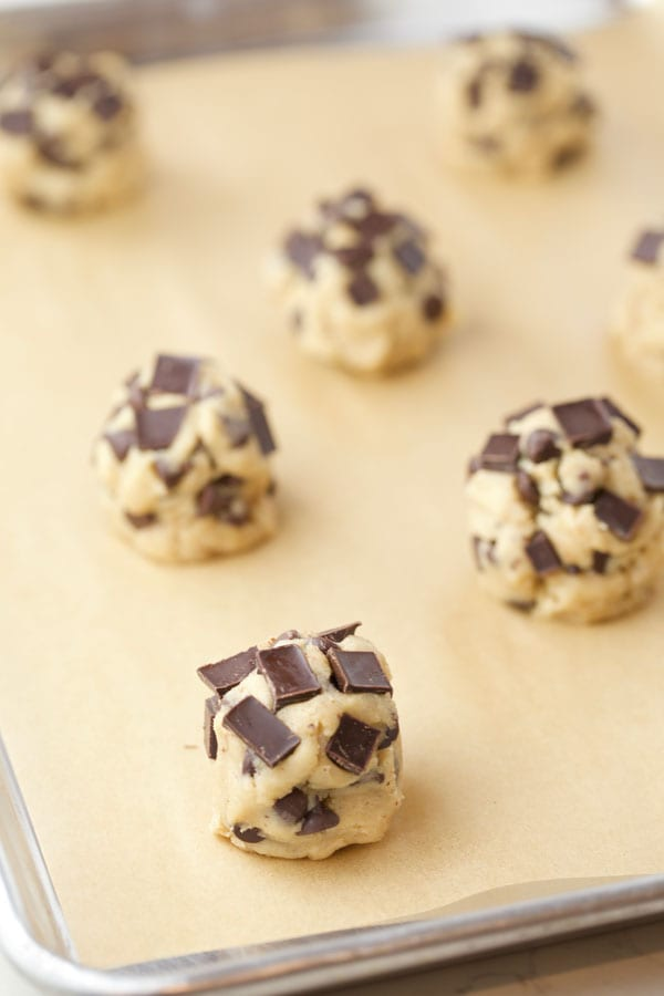 Chocolate chunks on cookie dough