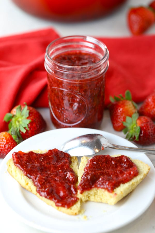 Paleo strawberry jam in mason jar