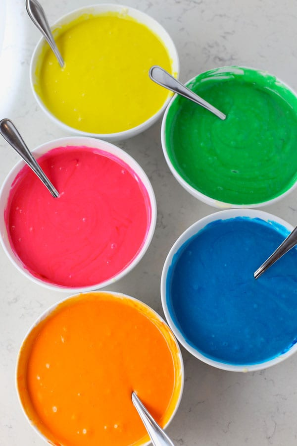 Colored cake batter bowls