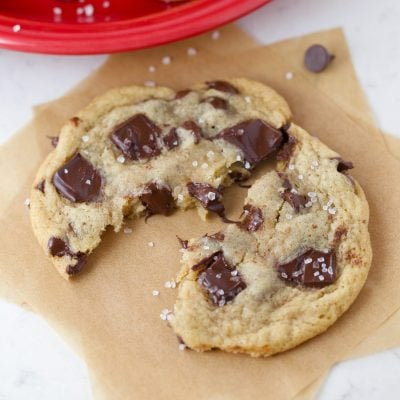 Closeup of chewy chocolate chip cookies