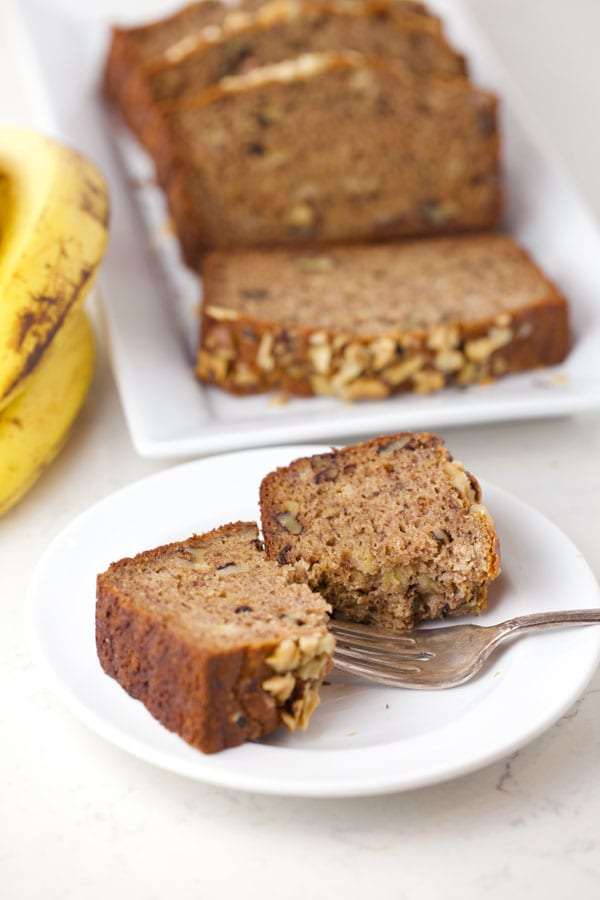 Paleo banana nut bread slice