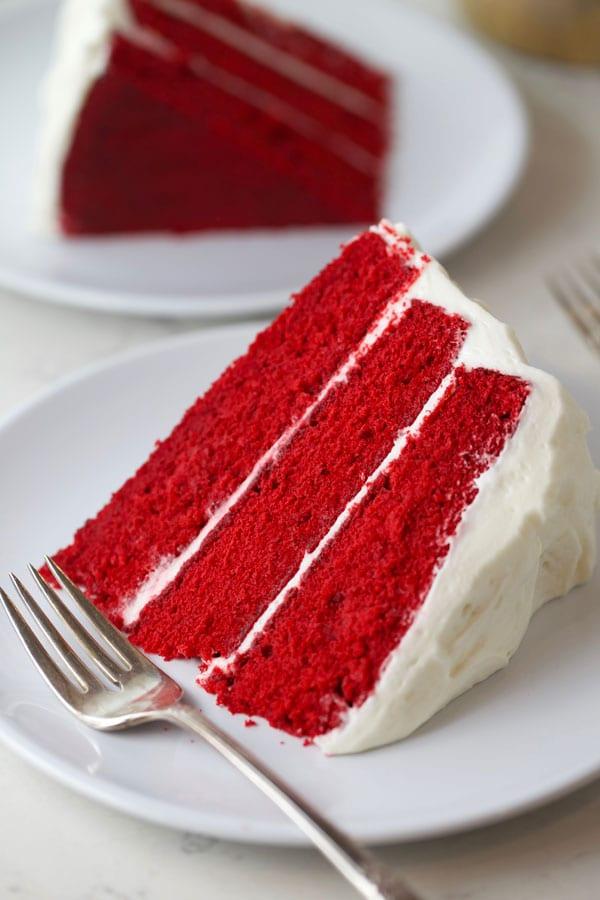 Classic red velvet cake slice