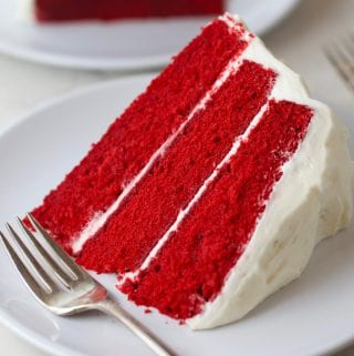 Slice of the best red velvet cake