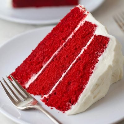 Slice of the best red velvet cake