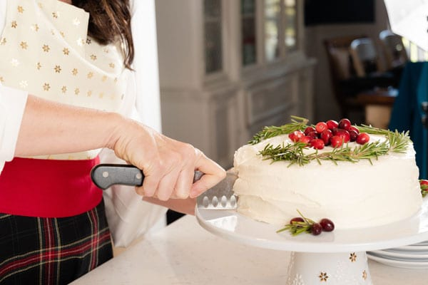 Christmas cake with cranberries and rosemary
