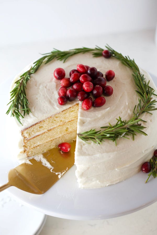 White butter cake with cream cheese frosting