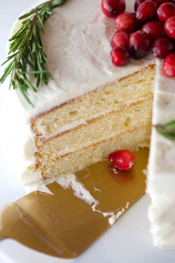 Simple Christmas cake sliced