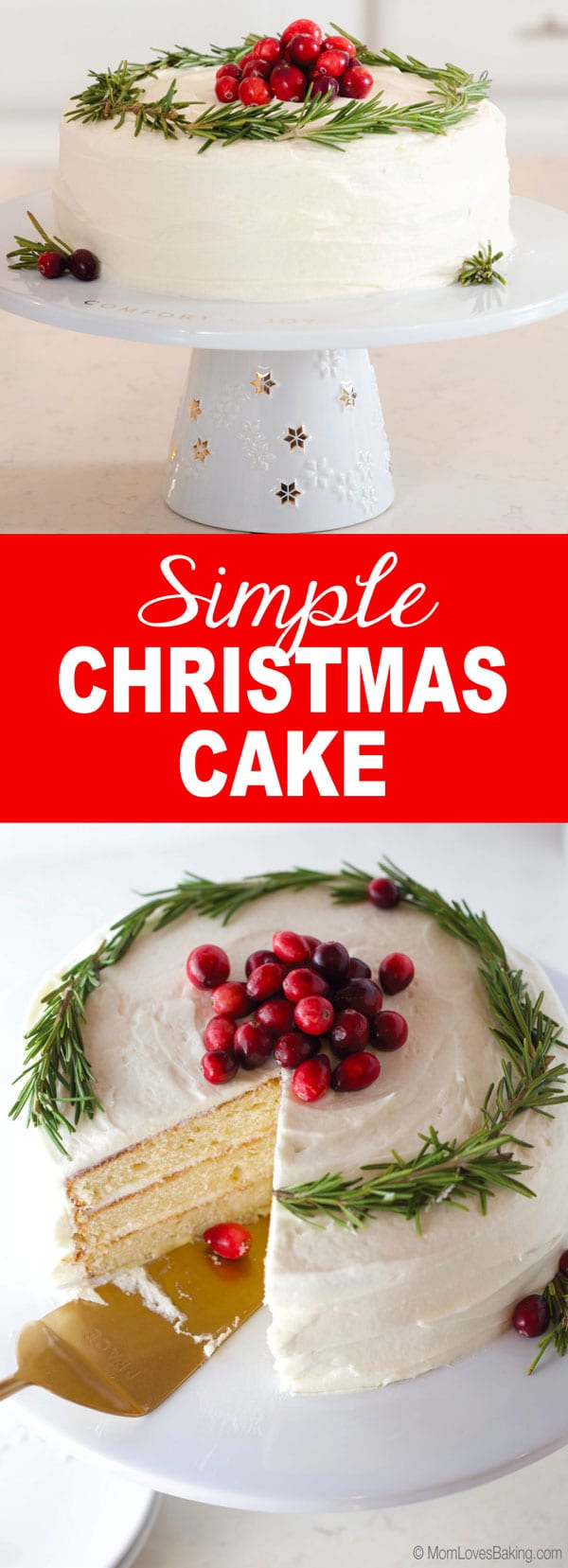 Simple Christmas cake long pin image