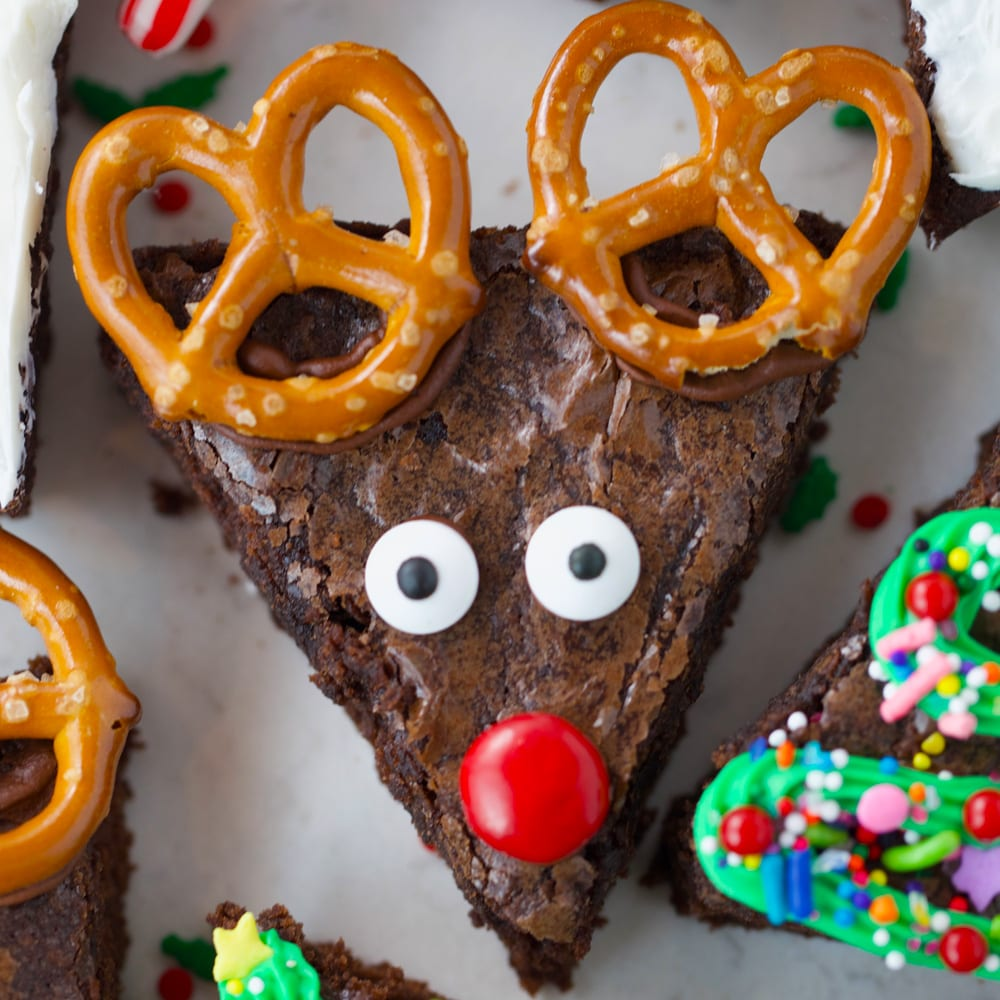 Brownie Christmas Trees Snowmen Reindeers Mom Loves Baking