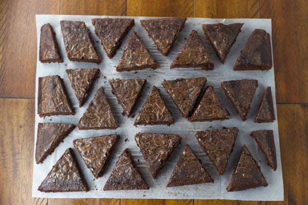 Brownies cut into triangles