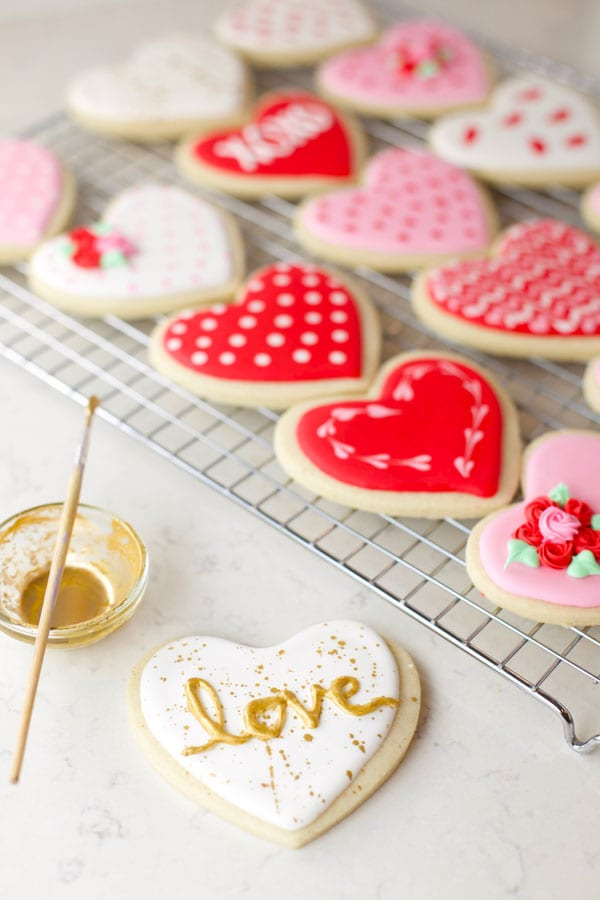 Edible gold paint on cookies