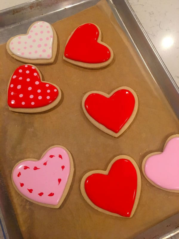 Red royal icing sugar cookies