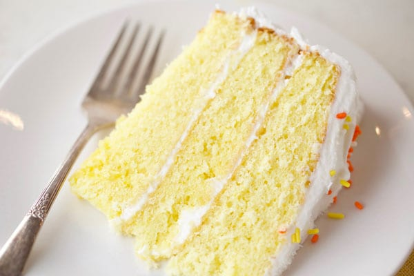 Slice of best lemon cake on a plate