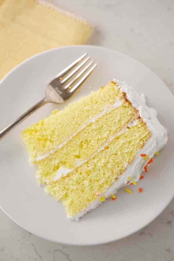Piece of lemon cake on a plate