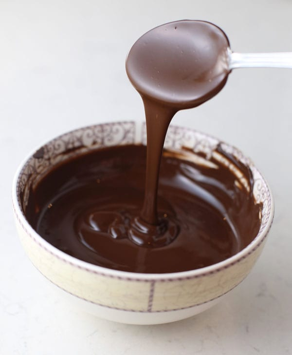 Melted chocolate to dip peanut butter eggs