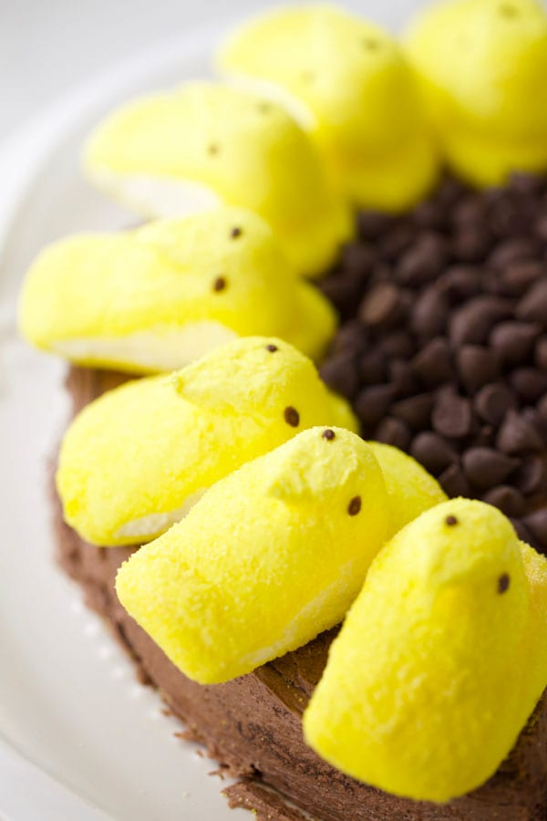 Sunflower cake made with marshmallow peeps