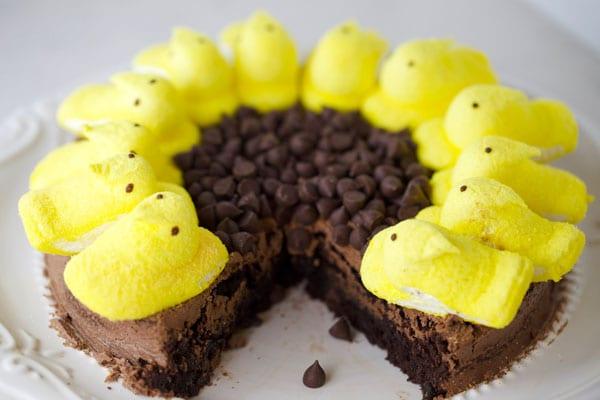 Peeps sunflower brownies cake
