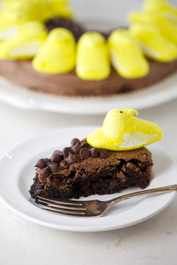 Easy Peeps brownie that looks like a sunflower