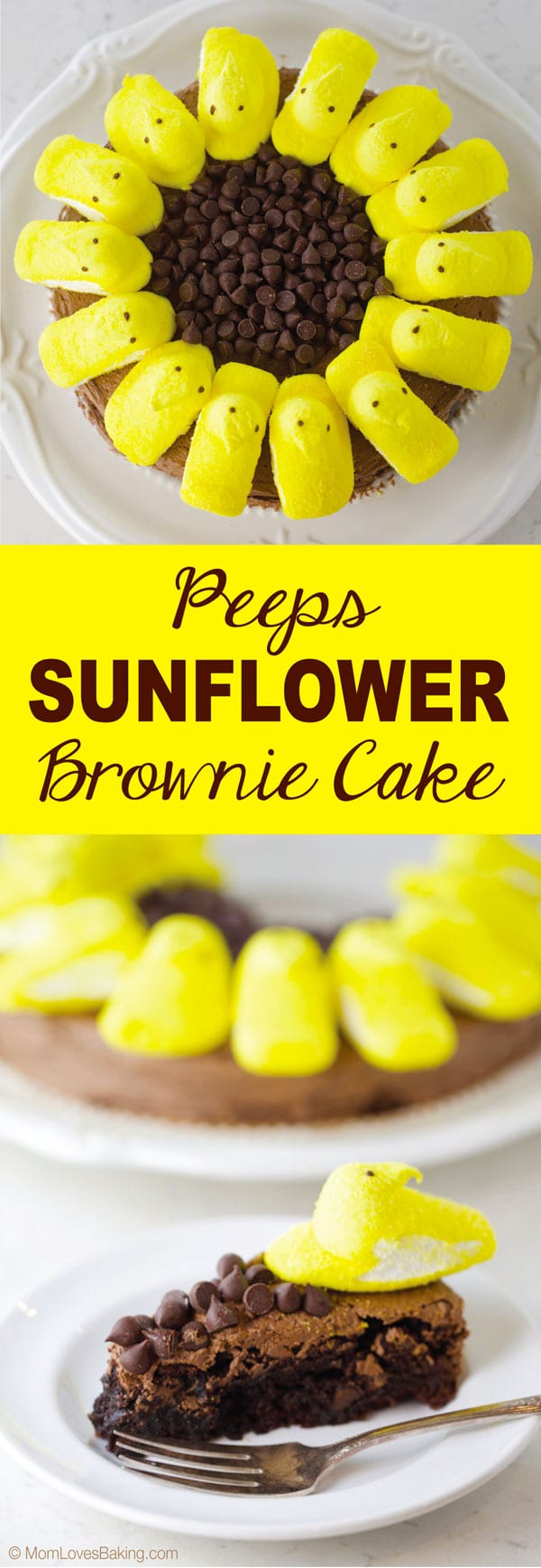 Adorable yellow peeps sunflower brownie cake
