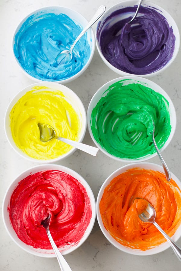 Bowls of colored frosting